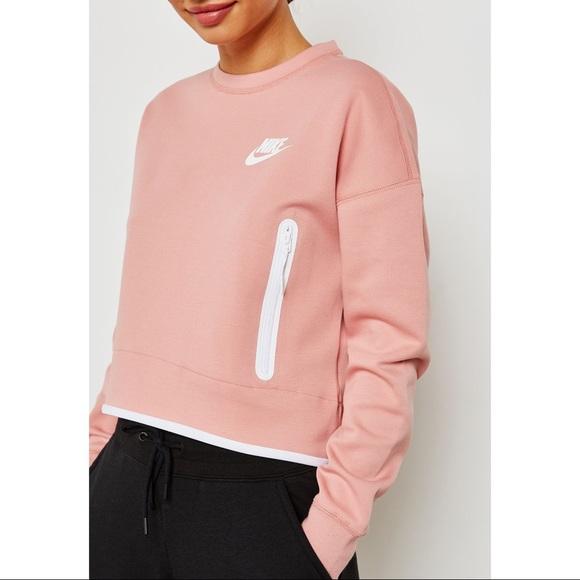 162f6fe4 Nike Tops | Rust Pink Tech Fleece Crewneck Pullover | Poshmark